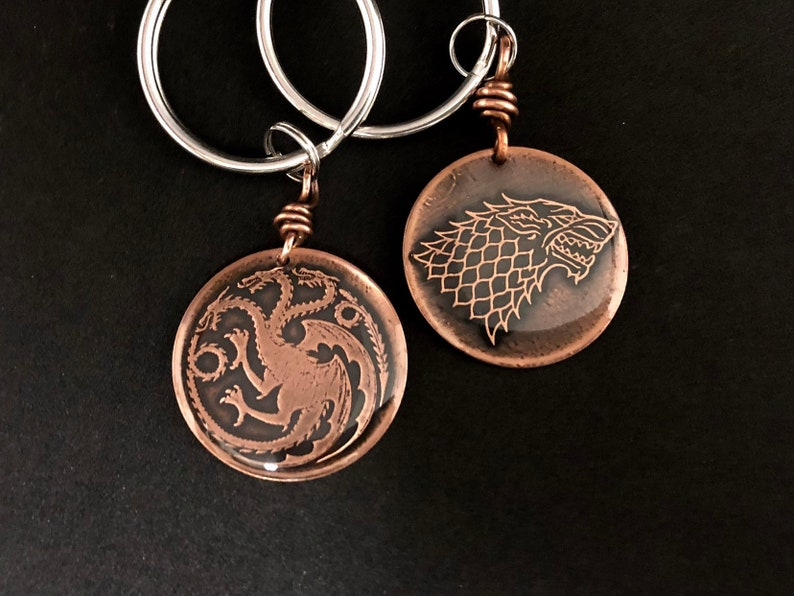GOT Game of Thrones house sigil etched copper keychain image 0
