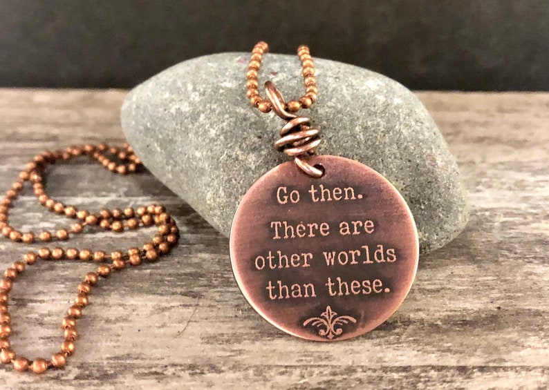 Dark Tower Stephen King Go then etched copper necklace image 0