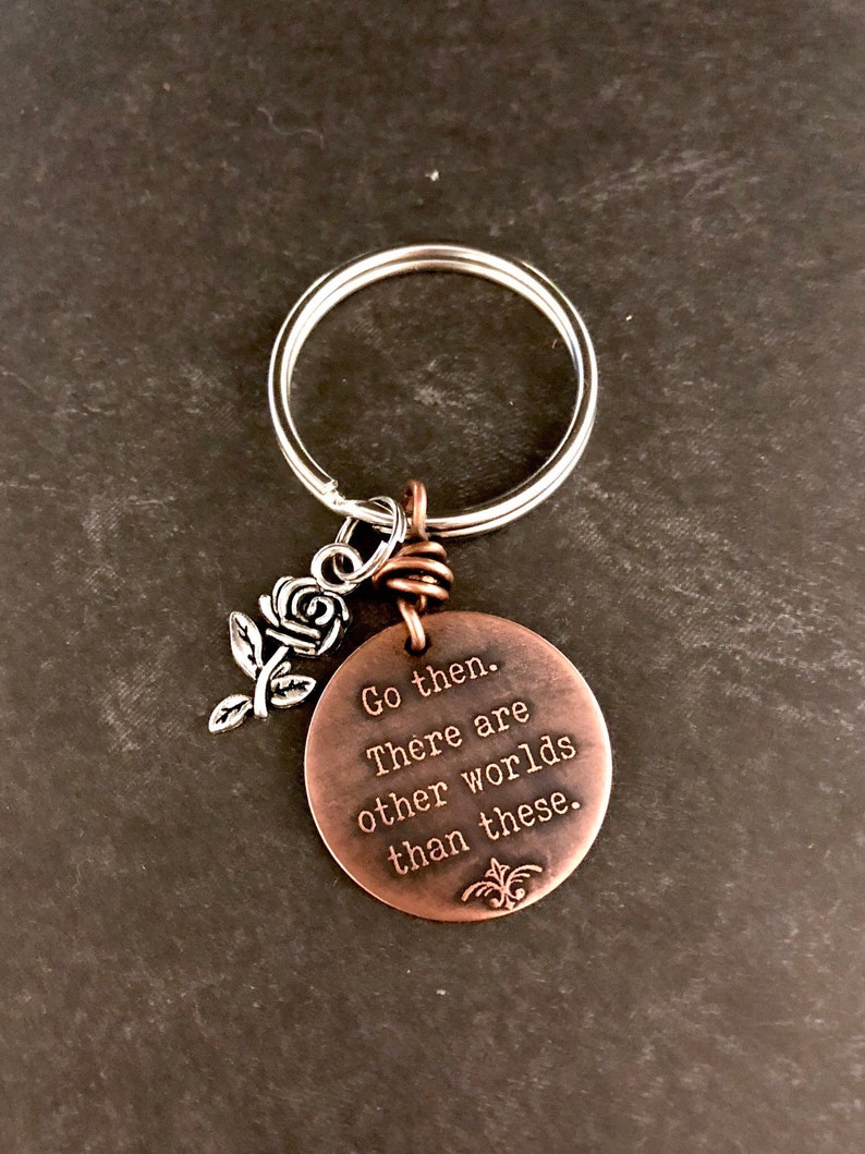 Dark Tower Stephen King Go then etched copper keychain image 0