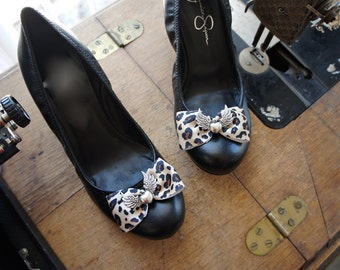 45445c2edb2 Olivia Paige - Glamour punk rock leopard Heart with wings Shoe CLips