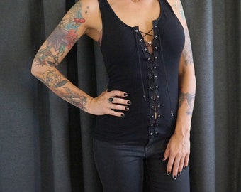 383d9e210a891 Olivia Paige Clothing -Front Eyelet lace up tank top goth gothic