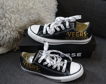 ec06b011f3a0 Olivia Paige -Vegas Golden Knights Vegas Strong low tops Converse with  Eyelets and Hockey laces