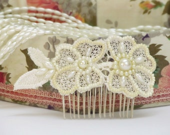 Lace bridal hair comb pearl hair comb wedding beaded bridal headpiece comb ivory lace hair comb bridal beaded headpiece bride hair accessory