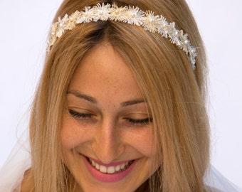 Bridal pearl hair band Ivory and gold pearl headband bridal pearl hair piece bridal hair accessory bridal hair band bridal pearl headpiece