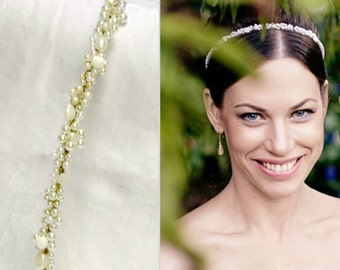 Pearl wedding tiara bridal pearl tiara wedding pearl headband bridal tiara pearl bridal headband beaded pearl crown bridal pearl hair vine