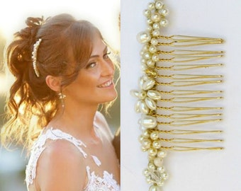 Bridal hair comb pearl hair accessories for wedding gold headpiece ivory and gold wedding hair comb pearl wedding headpiece bridal side comb