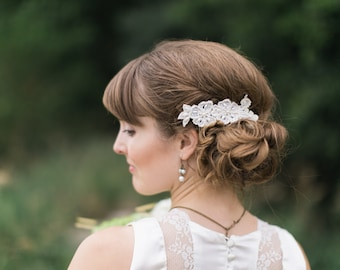 Bridal Lace Hairpiece - Vintage Lace Wedding Hair Accessories, Beaded Lace Haircomb, Express Shipment, Mari