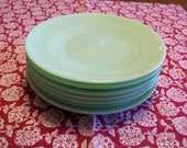 Seven (7) RARE Jadite Jade-ite 8 quot Luncheon or Salad Plates with Raised Foot Fire King Anchor Hocking Unmarked