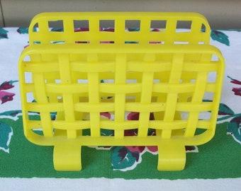 Vintage Yellow Lustroware Plastic Napkin Holder Table Decor Retro
