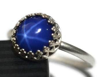 Star Sapphire Ring, Lab Created Blue Sapphire Engagement Ring, Simple Sterling Silver Ring, Women's Custom Engraved Band, Personalized Ring