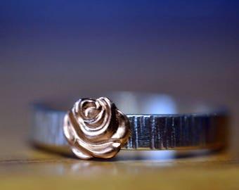 14K Gold Rose Ring, Sterling Silver Tree Bark Ring, Custom Engraved Birch Bark Wedding Band, Personalized Men's Wedding Jewelry