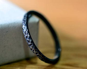 Narrow Wedding Band For Men, Oxidized Silver Stacking Ring, Industrial Jewelry, Hammered Band