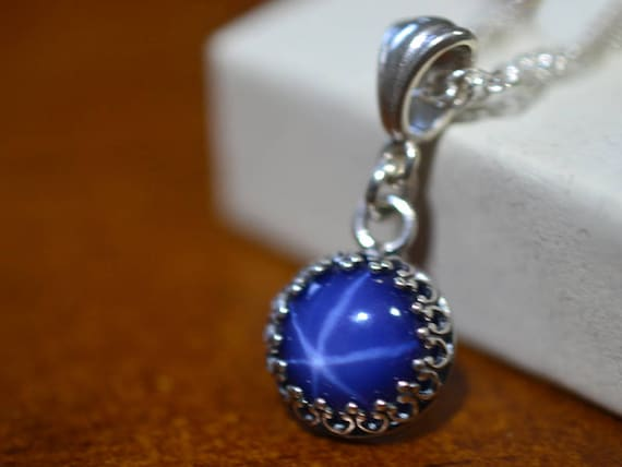 Blue Star Sapphire Necklace Women s Simple Silver Bezel  18c11e8d3