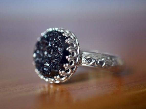 Weiß Drusy 925 Sterlingsilber Ring Natürlicher Edelstein Druzy Quarz; Alle