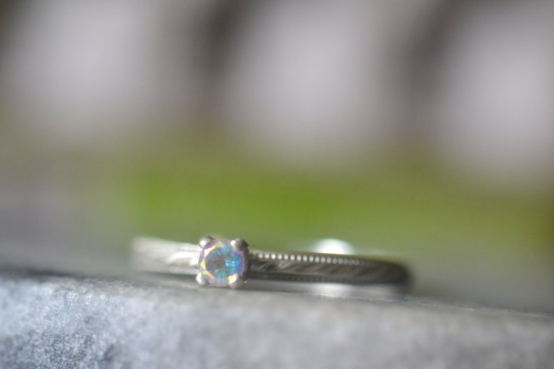 Details about  /925 Sterling Silver 5MM Round Natural Green Emerald Two Gemstone Engagement Ring