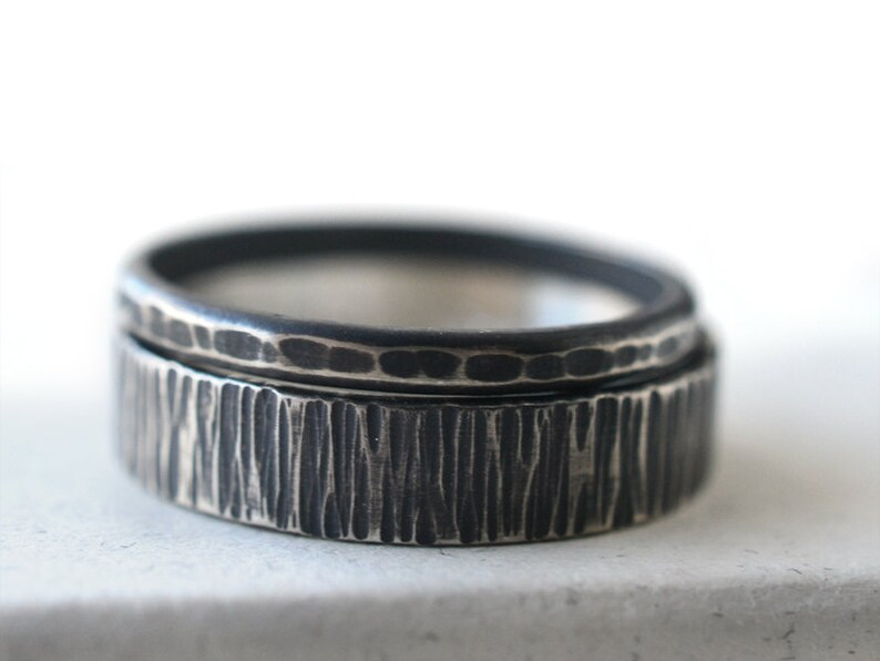Rustic Sterling Silver Stacking or Engagement Rings Personalized Jewelry Custom Engraving Oxidized Wedding Band Set