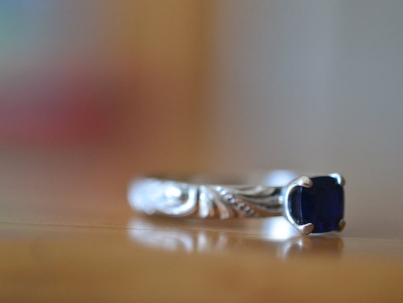 Cushion Cut Blue Gemstone Solitaire Swirl Pattern Sterling Silver Band Personalized Lab Sapphire Jewelry Baroque Sapphire Engagement Ring