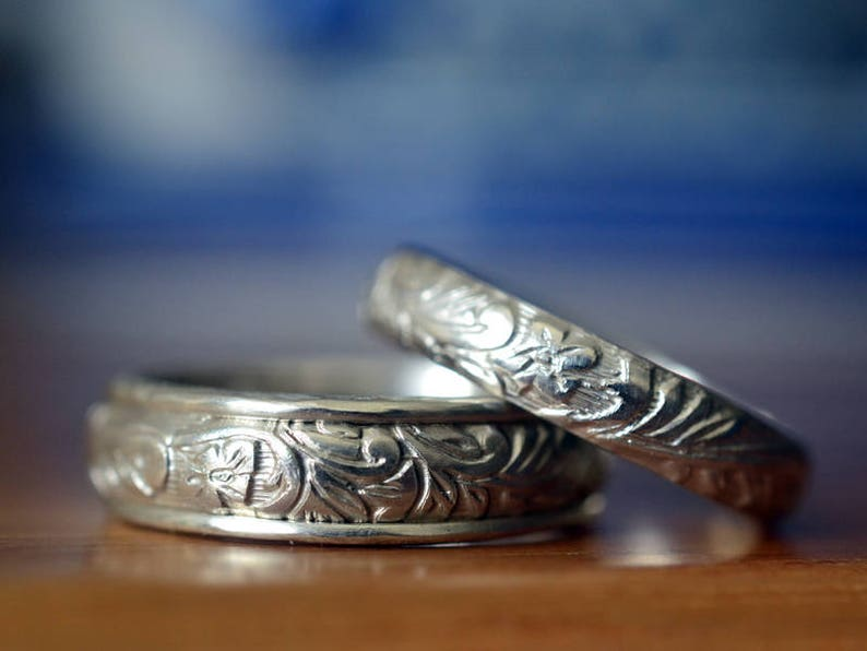 6a00c1feea69 Engraved Wedding Bands His   Hers Elizabethan Style Sterling