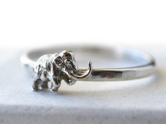 Bague De Mammouth Laineux En Bague En Argent Sterling Bijoux De Charme Animal Préhistorique La Première éléphant