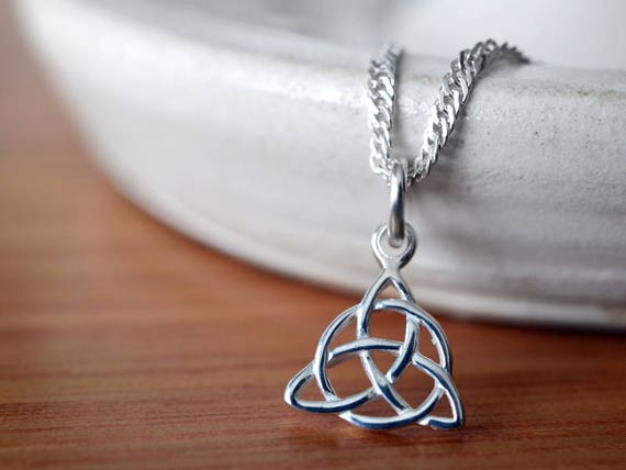 2a0c29559b18c Trinity Knot Pendant, Sterling Silver Celtic Knot Necklace, Solid .925  Sterling 18