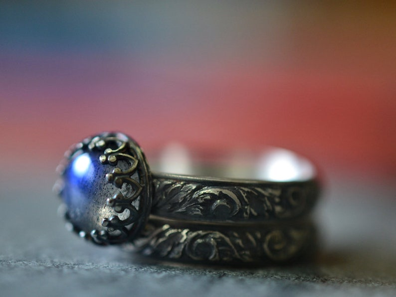 Labradorite Wedding Set Renaissance Style Engagement Ring Set image 0