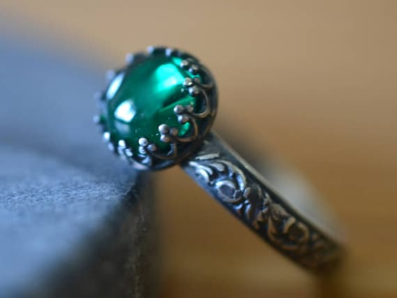 Custom Engraved Women/'s Crystal Jewelry Bezel Set Unique Gemstone Gothic Oxidised Silver Band Copper Turquoise Ring