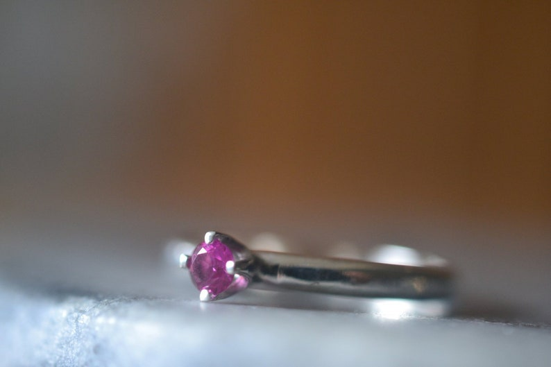 Tiny Ruby Engagement Ring, 2mm Sterling Silver Band, Dainty 3mm Pink  Gemstone, Personalised Engraved Created Ruby Jewelry