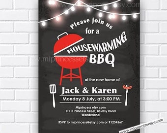 Housewarming Bbq Invitation Rustic Party Wood Chalkboard Invite Digital Card 596