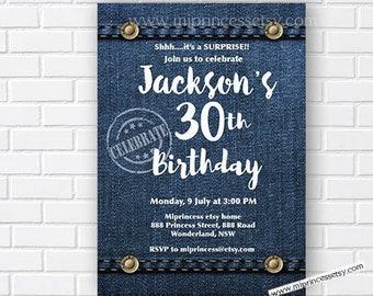 denim invitation men birthday party women adult birthday blue denim invite boy party women birthday any age, surprise - card 862