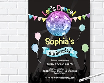 dance birthday, disco birthday,  dance party, disco party, kids disco party, birthday invitation, girl dance party, disco party, card 1049