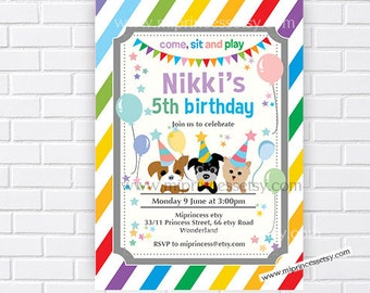 Dog puppy party invitation  animal party  children Birthday Invitation for any age 1st 2nd 3rd 4th 5th 6th 7th 8th 9th  card 786
