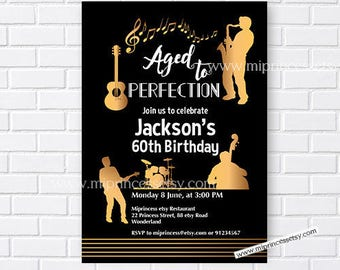 Jazz Birthday Invitation Aged To Perfection Music Party For Adult Any Age 30th 40th 45th 50th 60th Card 861