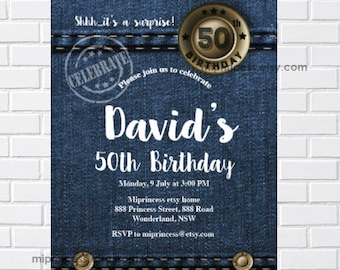 Denim invitation Etsy