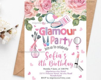 Glamour invitation, girl birthday party invite, makeup party sap beauty glamour birthday  for any age 4th 5th 6th 8th 9th   card 1251