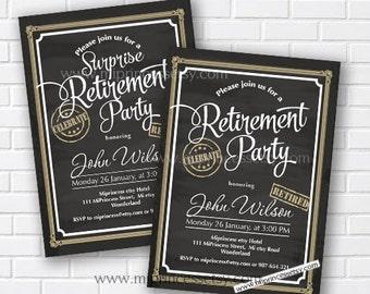 Retirement party, retired, surprise retirement, surprise party, Retirement Celebration, chalkboard invite, surprise party,  card 562
