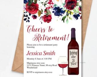 Retirement Invitation Cheers to Retirement retiring Invitation wine Retired  Invitations Retirement red wine digital,  card 1544