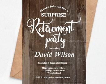 Retirement invitation, rustic retiring invite, rustic wood retro wood rustic invite printable file surprise party, card 1548