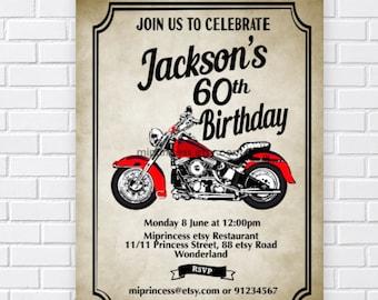 Motorcycle party invite, Motorbike invitation, men birthday,  boy birthday biker vintage motorcycle adult   card 858