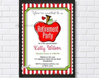 teacher retirement, teacher appreciation, retirement party, retirement invite, retired, retirement teacher, school retirement, card 569