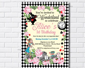 Alice in wonderland, girl birthday, tea party, wonderland birthday, alice party, wonderland party, mad hatter party, mad tea party, card 565