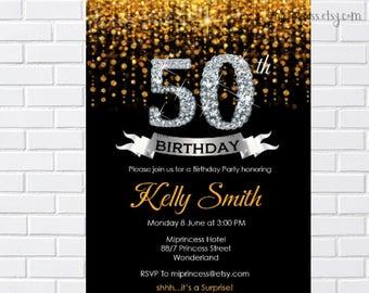 gold invie, elegant invitation, adult  birthday party  birthday invitation , black and gold glitter invitation ,  card 299