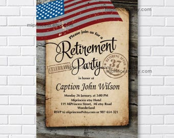 military retirement party invitation etsy