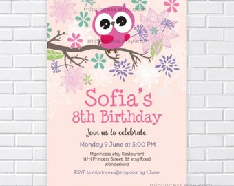 Owl Invitation Little Girl Birthday Flowers Floral Kids Party Invite For Any Age 1st 2nd 3rd 7th 6th Card 147