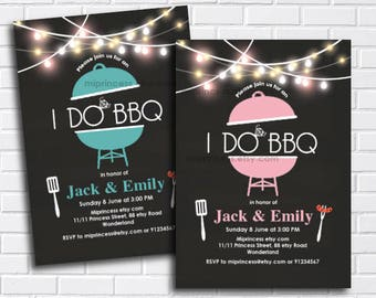 I Do BBQ, Invitations, Couples Shower, Engagement Party, shower invitation, BBQ party, chalkboard invite, printable, bridal   - card 1145