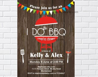 I Do BBQ, Invitations,  Couples Shower, Engagement Party, shower invitation, BBQ party, bridal, party invitation, printable  - card 1104