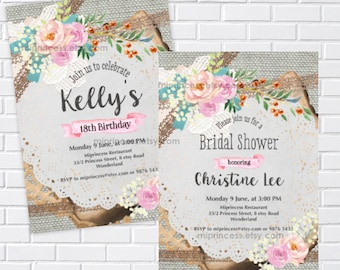 rustic lace burlap invitation for birthday party bridal shower baby shower wording can be changed for any event card 286