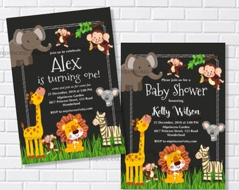 Safari Animal invitation boy birthday party Baby Shower invite , lion elephant giraffe party animals, card 363