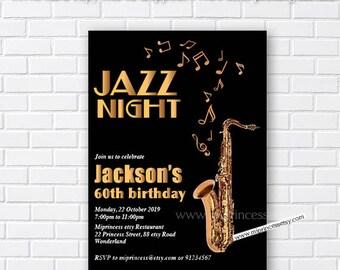 Jazz Birthday Invitation Night Music Saxophone Adult Party Invite Card 678
