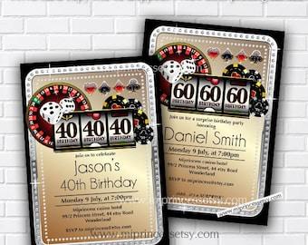Slot machine casino invitation adult birthday invite, gambling jackpot, Invitation for any age 18th 30th 40th 45th 50th 60th  80th,   535 for sale  Delivered anywhere in Canada