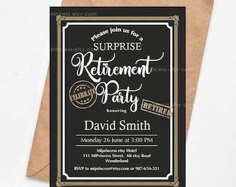 Retirement Party Invitation Surprise Party Retirement Etsy